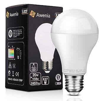 Awenia Bombilla LED Esférica E27 20W (Equivalente a 150W), Luz LED 4000K 2452