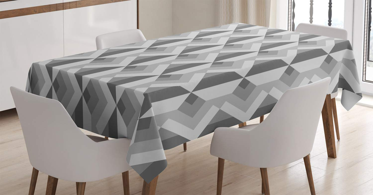 Ambesonne Grey Decor Tablecloth, Triangles with Parallel Lines in Dark and Light Retro Minimalist Pattern Artwork, Dining Room Kitchen Rectangular Table Cover, 52 W X 70 L Inches, Ash Shadow