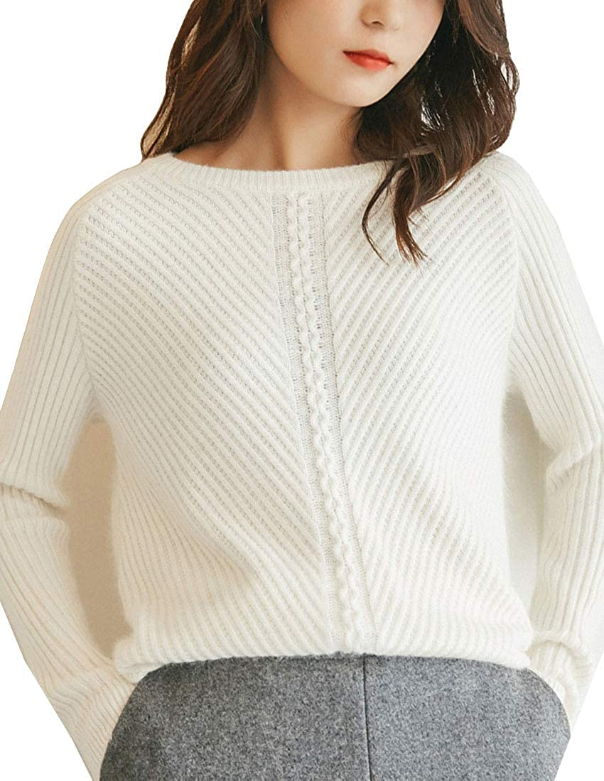 White MFrannie Womens Cashmere Wool Stretchy Fit Crew Neck Sweater Ribbed Knitted Tops