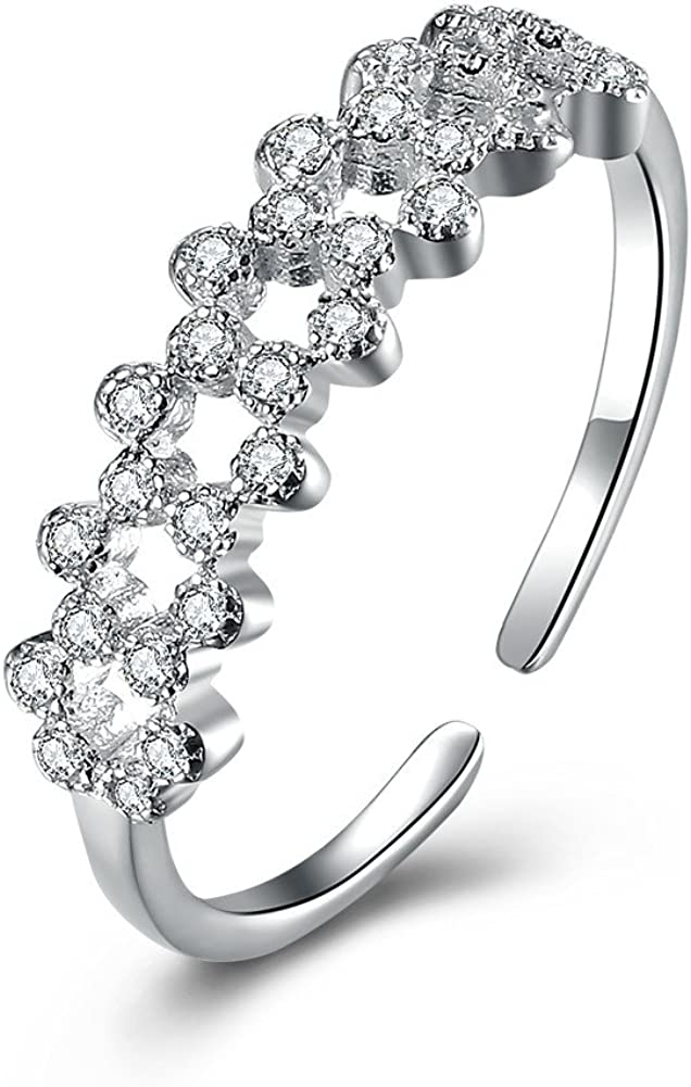 JewelleryClub Plata de Ley 925 Swarovski Elements Crystal Flower Garland Anillo Ajustable para Damas