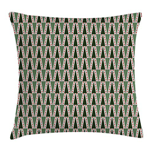 Riolaops Geometric Throw Pillow Cushion Cover, Ornamental Triangles with Colorful Polka Dots X-mas Pattern, Decorative Square Accent Pillow Case, 22 X 22 Inches, Hunter and Almond Green Red (Hunter Settee)