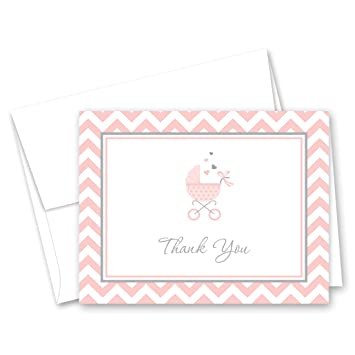 Polka dots Set of 50 Thank You Notes with Envelopes, Elephant Pink Girls Baby Shower Thank You Cards