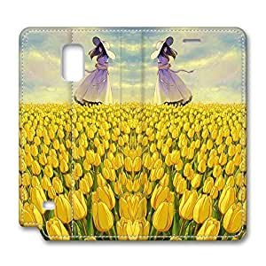 Brian114 Samsung Galaxy Note 4 Case, Note 4 Case - Leather Folio Flip Case Cover for Samsung Note 4 Yellow Tulip Field Customized Stand Leather Cases for Samsung Galaxy Note 4
