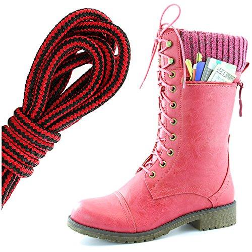 Dailyshoes Womens Bekämpa Stil Snörning Fotled Toffeln Rund Tå Militära Sticka Kreditkorts Kniv Pengar Plånbok Ficka Stövlar, Svart Röd Hot Pink Pu