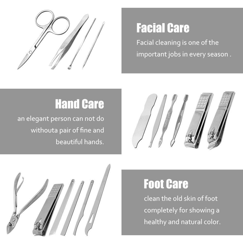 Miriqi 16 Set Cortaúñas Conjunto Kit de Pedicura,Tijeras de uñas Profesionales Manicura Kit Incluye Herramientas Remover Cutícula