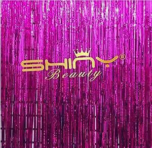 shinybeauty cortina de papel de aluminio 6x 8ft- fucsia metálico puerta cortina de ventana cortina para Halloween Party Decoración (Pack de 2)