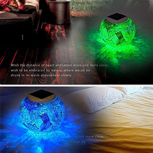 TechCode Lawn Garden Solar Lights Lamp Yard Light Crystal Beside Outdo Night Desk Mosaic Solar Party Glass Pool Decoration Patio Waterproof A01 Table Light Changing for Table Power Colour Lantern 514xt1wqA