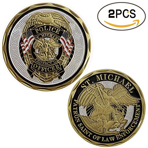 2 pcs Set of Challenges Coins Deluxe Collector's Set | Police Officer St Michael Law Enforcement Challenge Coin - Officially Licensed By Zcccom | Each Coin Comes w/ a Plastic Round Display Case (Pc Police Officer)