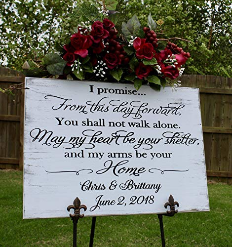 Gift from groom to bride on wedding day, Wedding vow art engraved wood sign ()