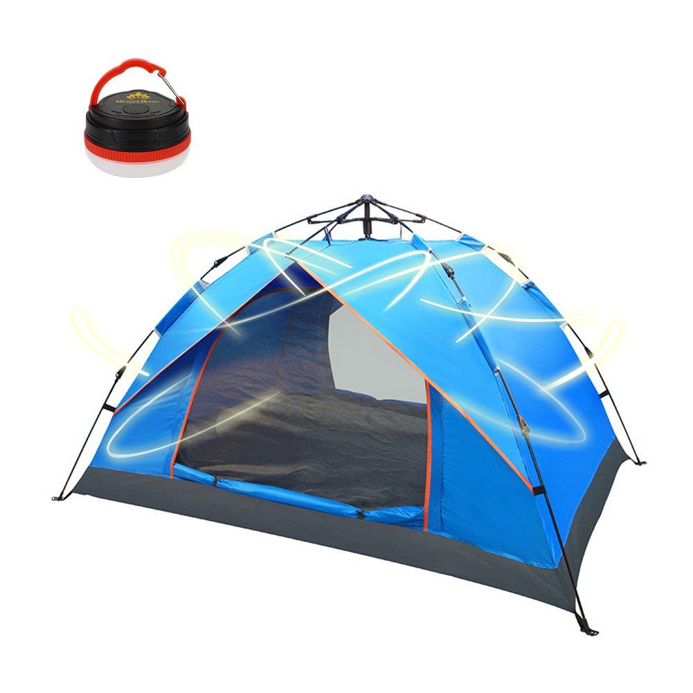 Micrael Home Automatische Instant 3–4 Personen Camping Zelt Wasserdicht Anti UV-Ideal für Familie Rucksackreisen Wandern Picknick Strand Angeln Außenbereich Blau Grün