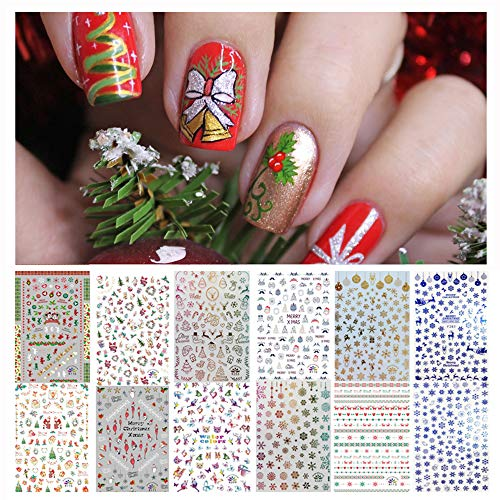 1000+ Patterns Nail Art Stickers for Women Kids, Kalolary 3D Design Self-adhesive Stickers Decals DIY Nail Art Tips Stencil Nail Decorations (12 Sheets, Large Size)