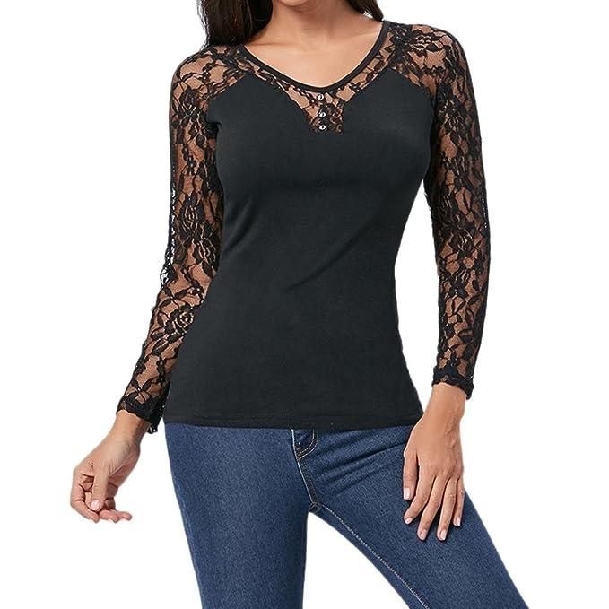 0923124165f59d Longra Damen T-Shirt mit Floral Spitze Langarmshirt Spitzenshirt Top Bluse  Shirt Tunika Hemd Schwarz