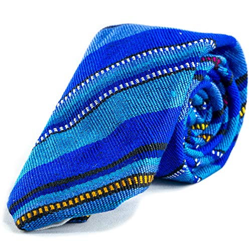 Mens Organic Cotton Woven Colorful Necktie Handmade In Central America With Fair Wages (Hielo)
