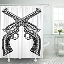 VaryHome Shower Curtain Black Pair of Crossed Gun Revolver Handgun Six Shooter Pistols Drawn in Vintage Retro Woodcut Etched Waterproof Polyester Fabric 72 x 72 inches Set with Hooks