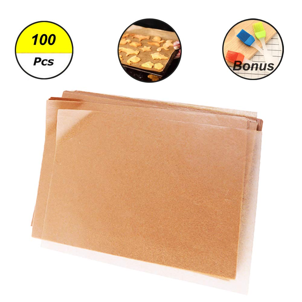 Unbleached Parchment Paper for Baking, 100 Pcs Precut 12x16 inches Cookie Baking Paper Sheets Non Stick Pan liner - Fit for Your Half Sheet Pans, with Silicone Baking Brush as Bonus