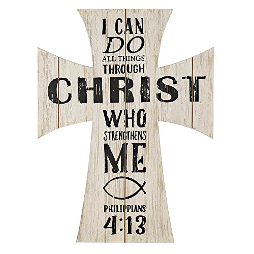 I Can Do All Things Through Christ Cross 12 x 16 Distressed Wood Wall Sign Plaque
