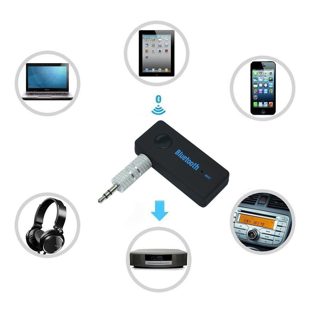 MPTECK @ Ricevitore Bluetooth Musica Ricevitore Audio Stereo Adattatore Portatile con 3,5 mm Aux per Sistema di Altoparlanti Stereo in Auto e Casa HiFi Altoparlante Compatibile con Smartphone