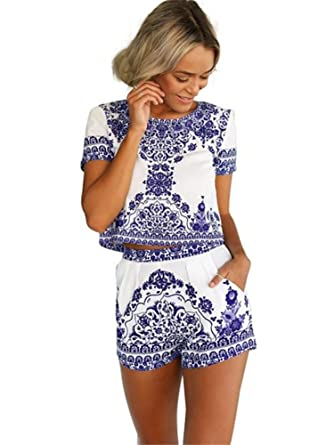9f7e206766 Miss Floral Womens 2 Piece Paisley Summer Playsuit Size 6-14  Amazon.co.uk   Clothing