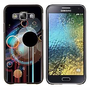 Qstar Arte & diseño plástico duro Fundas Cover Cubre Hard Case Cover para Samsung Galaxy E5 E500 (Círculos Disco)