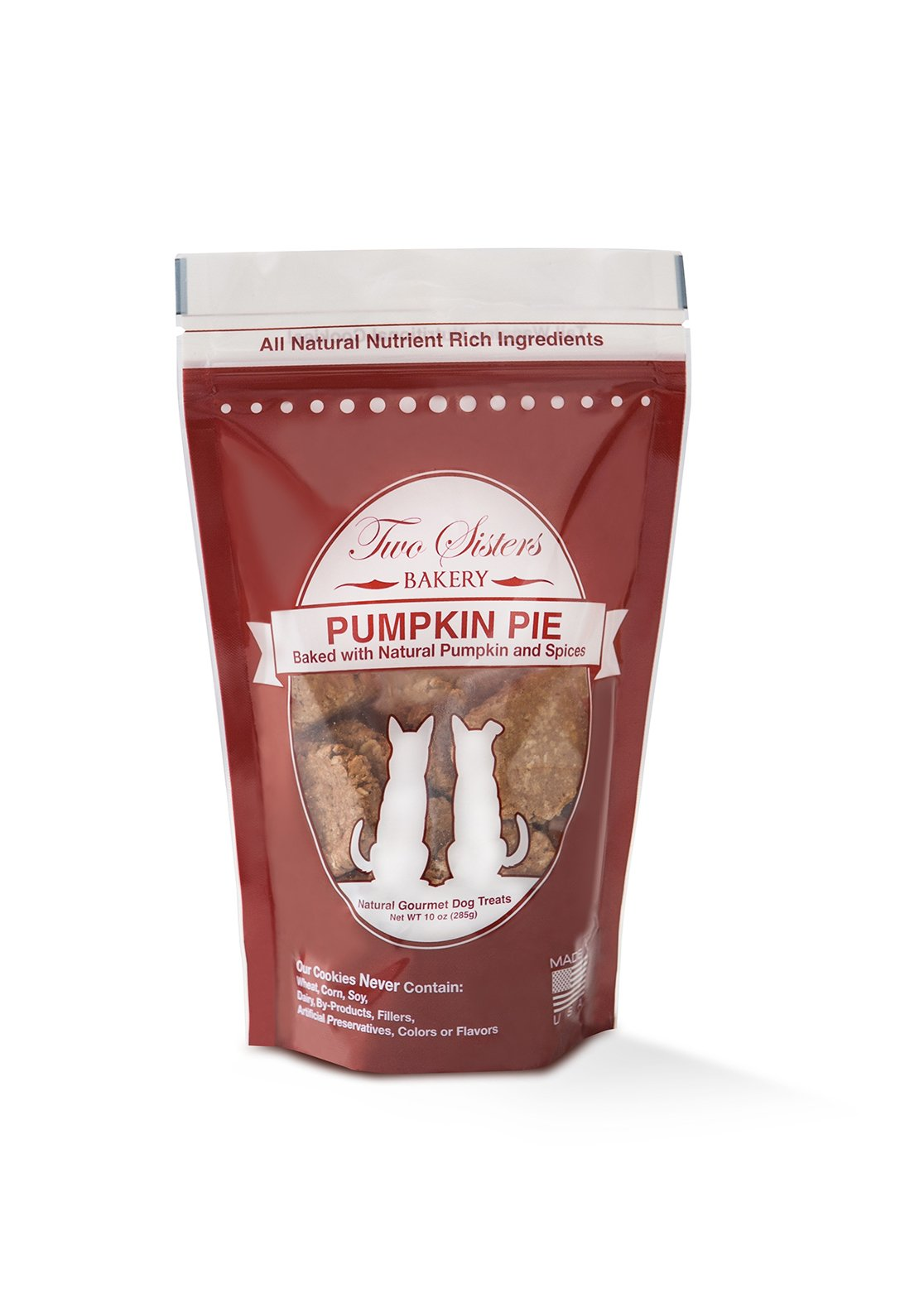 Two Sisters Bakery Natural Pumpkin Pie Dog Cookies (1 Pouch), 10 oz