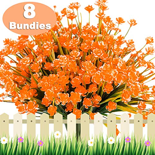 TURNMEON Artificial Fake Flowers, 8 Bundles Faux Outdoor UV Resistant Daffodils Greenery Shrubs Plants Indoor Outside Hanging Planter Wedding Garden Decor for Prime Deal