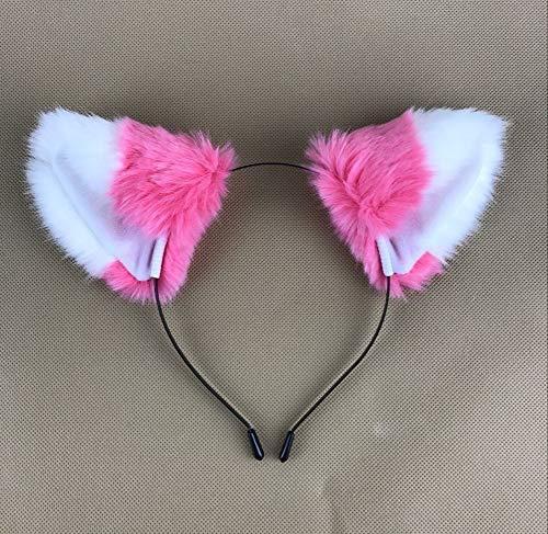 (Happylifehere Long Fur Cat Fox Ears Headband Hairband Lolita Cosplay Costume Halloween Kitty Fancy Dress Watermelon Red with White)