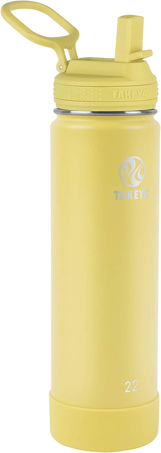 Takeya Actives Insulated Water Bottle w/Straw Lid, Canary, 22 Ounces