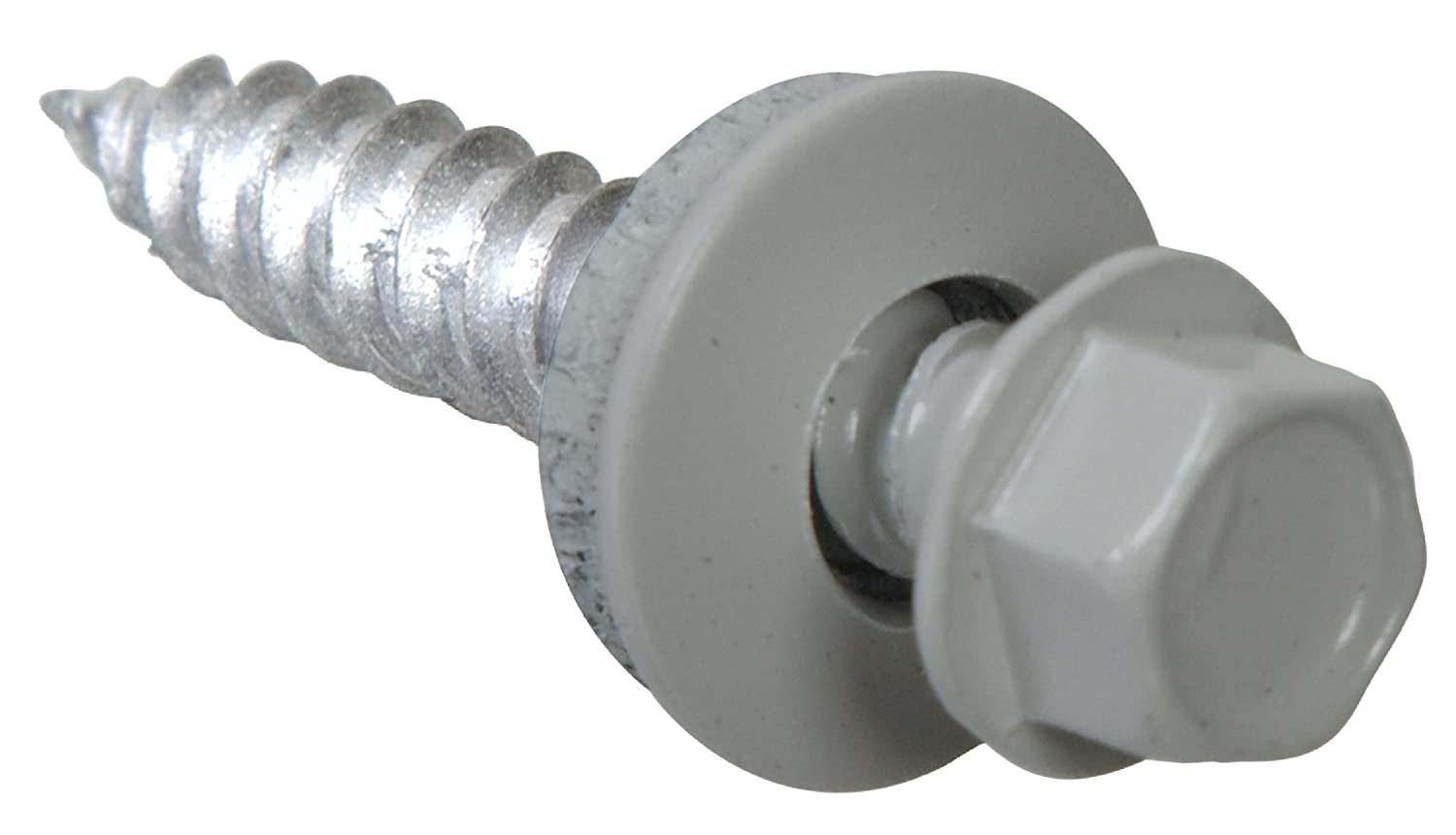 The Hillman Group 48279 10 X 2-Inch Hex Washer Head Self-Piercing Screw with Neoprene Washer and Gray Ceramic Coating 350-Pack