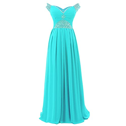 Vantexi Womens Cap Sleeve Long Chiffon Formal Prom Dresses