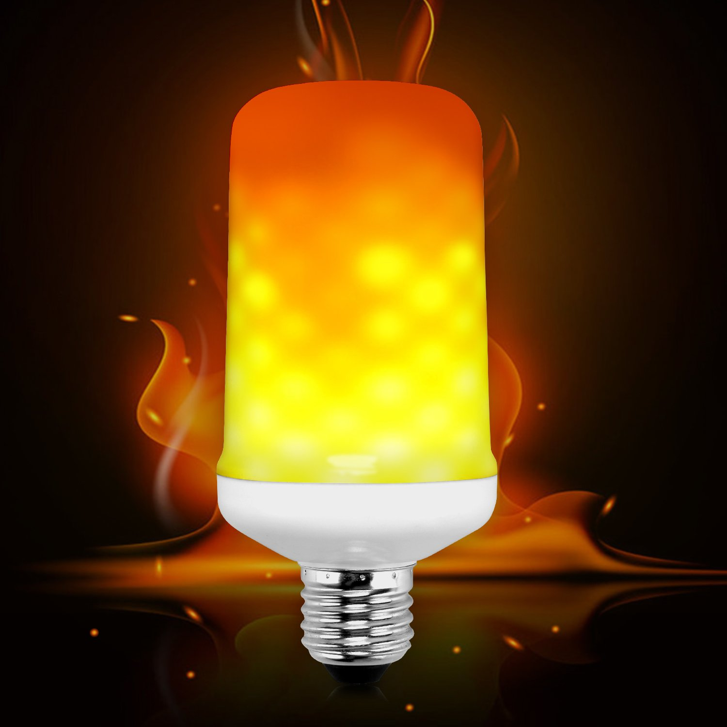 Flame Bulb Smarlance E26 LED Flame Effect Fire Light Bulb 2 Modes  amps,Simulated Nature