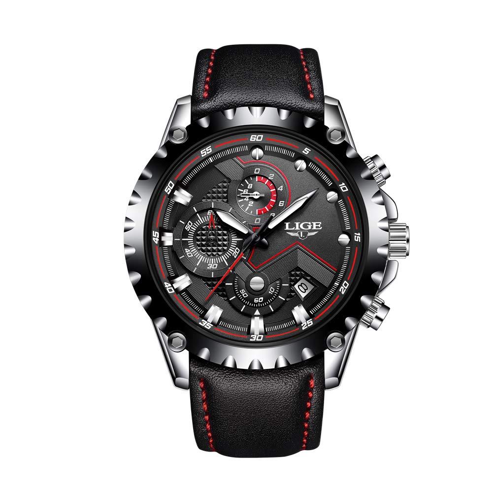 Relojes para Hombre,LIGE Cronógrafo Impermeable Deportivo analógico de Cuarzo Reloj Fecha Moda Casual Lujo Relojes de Pulsera