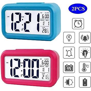 Liuer 2PCS LED Reloj Despertador Despertadores Digitales ...