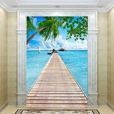 XLi-You 3D Sea Wooden Bridge Hyun Off Background Extended Space Wallpaper Murals.