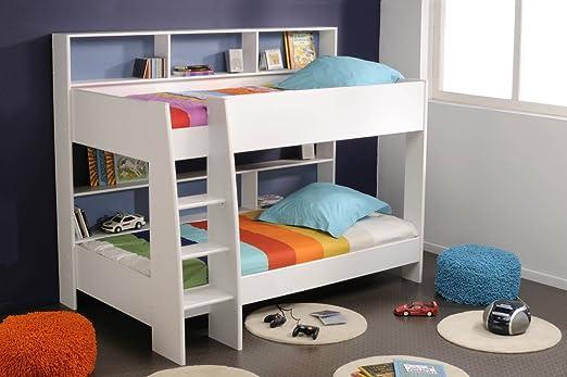 Etagenbett Doppelstockbett : Prisot kinder etagenbett doppelstockbett weiß rückwand blau