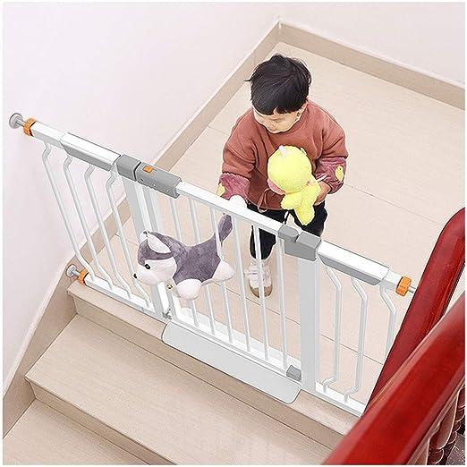 HONGAN Las Puertas del Bebé De Valla Escaleras Corte Libre Plegable Puerta Puerta del Bebé De Presión Auto Montaje De Barra De Cierre Dual Lock (Color : White, Size : 83-90cm): Amazon.es: