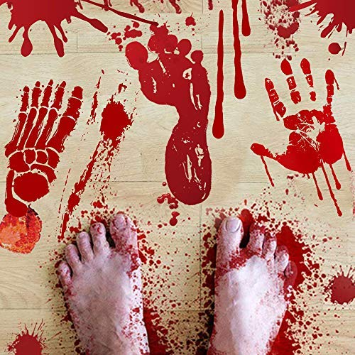 (DCLYSI Halloween Decorations (84 PCS),Bloody Footprints & Handprints Stickers Halloween Decorations Window Vampire Zombie Party Decals 8)