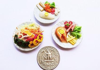 2.50 cm 8 Food 2 Dollhouse Miniatures Spaghetti and Vegetable Salad on Plate