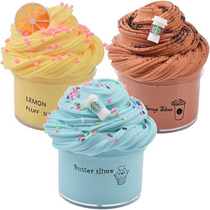 Butter Slime Cloud Slime 3 Pack Butter Slime Kit and Charms BESTZY Scented Cloud Slime 100 ml Soft Butter Slime Kit Stress Relief Toys for Kids Fuffly Clay