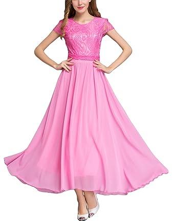 La Vogue Women Pink Top Lace Chiffon Boho Maxi Dress Lace Cap Sleeve (Pink)