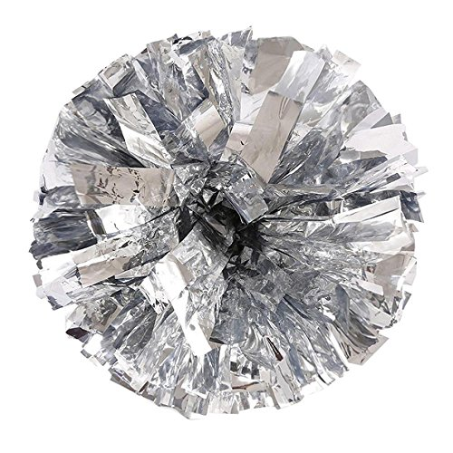 FTXJ Metallic Color Foil Cheerleader Pom Poms And Plastic Ring Cheerleading Sports Party Accessories Dance Ball (Silver)