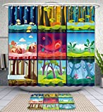 Amavam Bathroom 2-Piece Suit Game Background Seamless Set Shower Curtains And Bath Mats Set, 60'' Wx72 H & 23'' Wx16 H