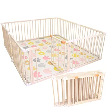 Amazon Com Solid Wood Fence Foldable Child Baby Play Fence Baby
