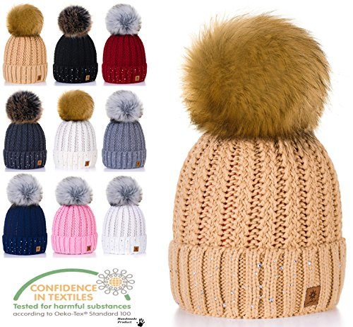 Lady para Beanies Little y Beige claro Bonnet por Size mujer Pique Gold One Crystals al Winter punto de Pompom 4sold mayor Circle Color wgXqCxdg