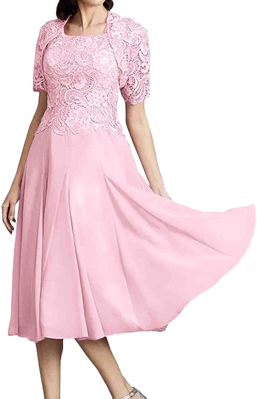 Abito da donna in pizzo, per feste e cocktail, con giacca, colore: rosa Bianco