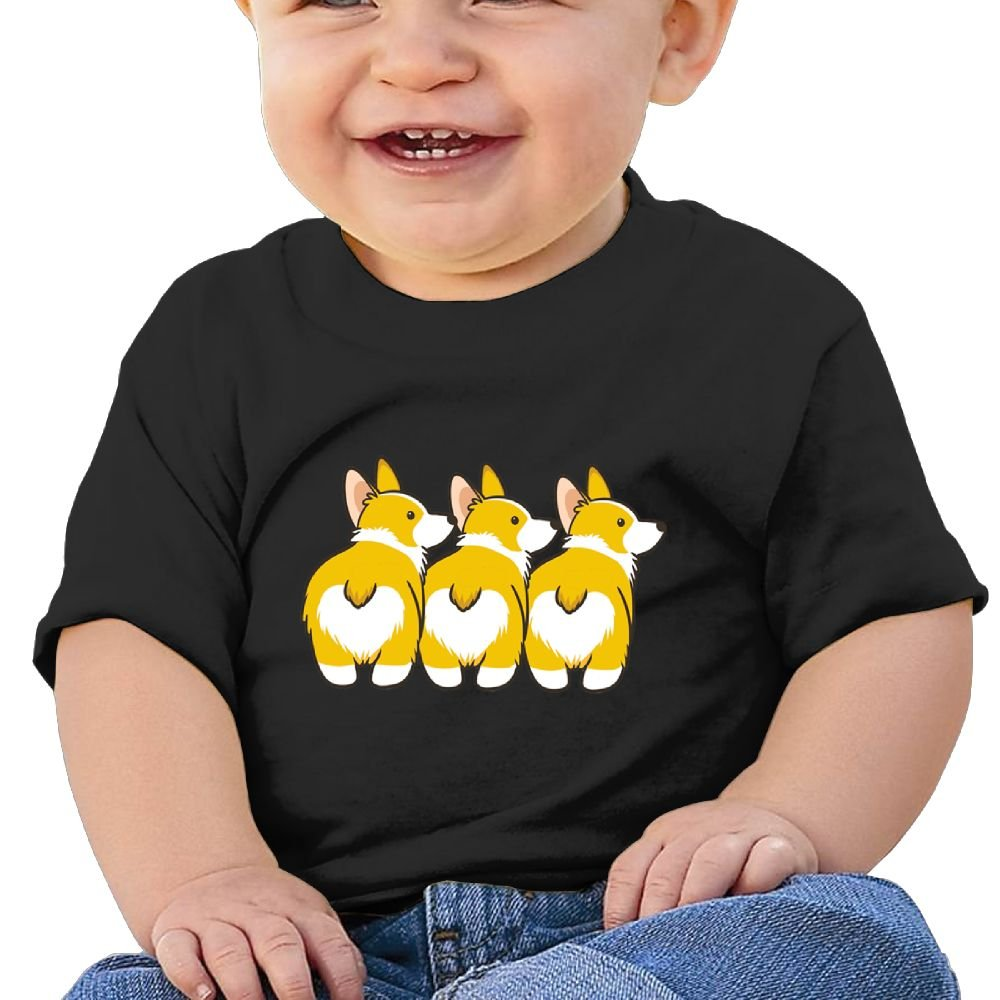 REBELN Three Corgi Butts Cotton Short Sleeve T Shirts for Baby Toddler Infant