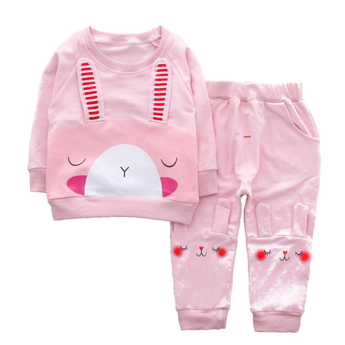 2 Piece Outfit For Baby Girls Boys Cute Bunny Style Long Sleeve Blouses Tops+Pants