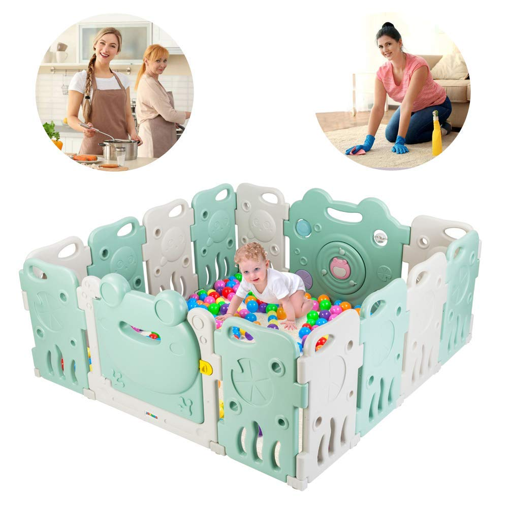 JOYMOR 14 Panels Baby BPA-Free Safety Extra Larger Rubber Anti-Skid Playpen Play Yards Baby Fence Kids Activity Center with Locked Door Home Indoor Outdoor Cute Frog