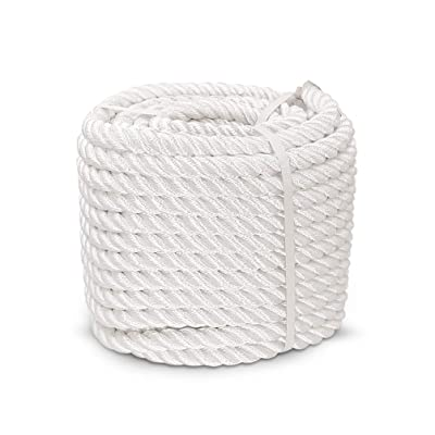 Aoneky 1/2 5/8 3/4 7/8 inch Nylon Twisted Rope - White Pull Rope Cord (1/2 inch x 50 ft)