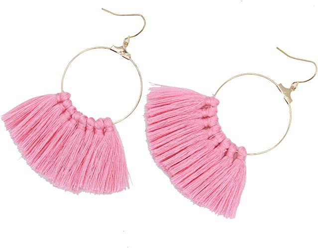 Pink Tassel Earrings Fringe Earrings Dangle Earrings Titanium Earrings Drop Earrings For Sensitive Ears Hypoallergenic Boho Jewelry For Wife