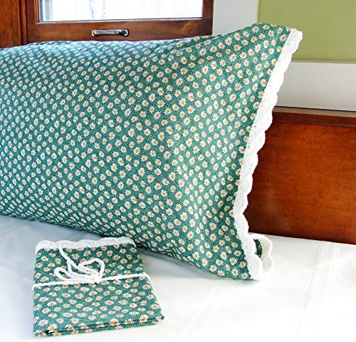 Crochet Pillow Case in GREEN DAISIES with Crochet Edging, Floral Pillow Case, One (1) Standard Size Green Pillowcase, Daisy Pillowcase, Green Floral B…